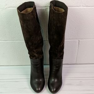 Johnston and Murphy leather knee high boots womens